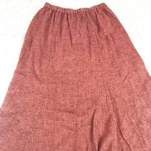 Flax Red Rust Linen Elastic Waist Maxi Skirt Sz L